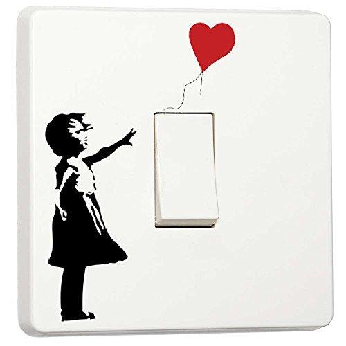 Banksy Graffiti Art Lichtschalter-Aufkleber aus Vinyl Girl with Balloon
