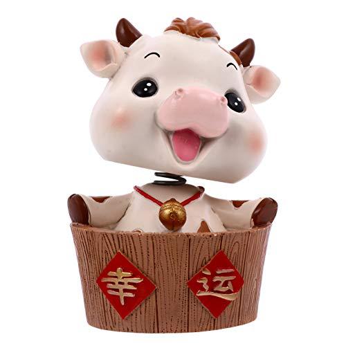 ABOOFAN Lucky Piggy- Kuh Figur Auto Wackelfigur Feng Shui Statue Tortenfigur Dekofigur Wohnzimmer Tischdeko Skulptur für Silvester Glücksbringer Ochse Neujahr Geschenke Weihnachten Deko