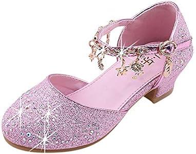 Zapatillas niña LANSKIRT Sandalias de Vestir para niña de Lentejuelas de Cristal para niñas pequeñas bebés Princesa solteras Zapatos Zapatos de tacón Cuadrado Pantuflas Calzado
