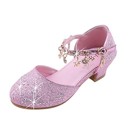 Ansenesna Sandalen Kinder Mädchen Mit Absatz Glitzer Pailletten Elegant Princess Schuhe Für Hochzeit Party