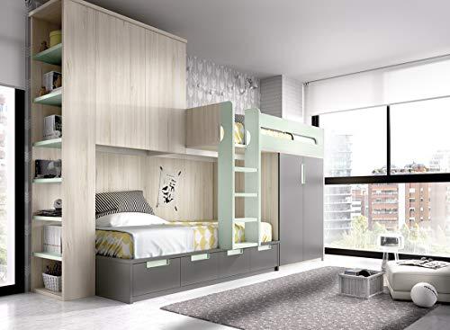 ambiato Hochbett Jump 315 XXL mit Kleiderschrank,vielen Auszügen und integrierten Bücherregal,Überbauschrank,freie Farbauswahl