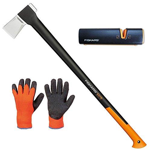 Fiskars Set Spaltaxt X27 - XXL + Xsharp AXT- und Messerschärfer + Handschuhe