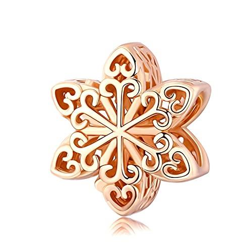 LISHOU Silber 925 Sterling Silber Schmuck Elegante Schneeflocke Openwork Charms Beads Fit Damen Armband Halskette DIY Making Zubehör Rosegoldplated