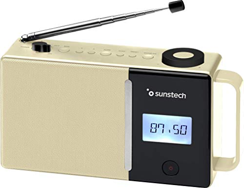Sunstech RPDS500. Radio portátil Digital FM, BT (v5.0), Puerto USB, conexión aux-in. Color Beige.