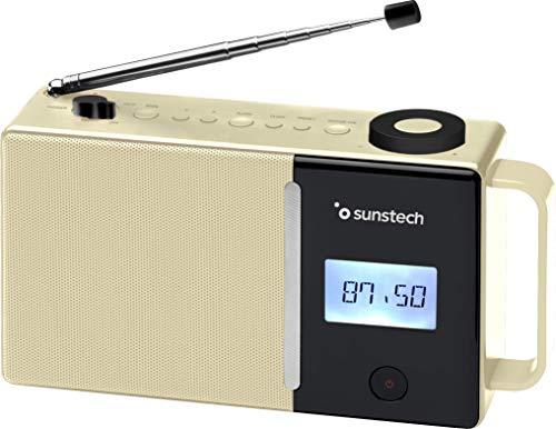 Sunstech RPDS500. Radio portátil Digital FM, BT (v5.0), Puerto USB, conexión aux-in. Color Beige.