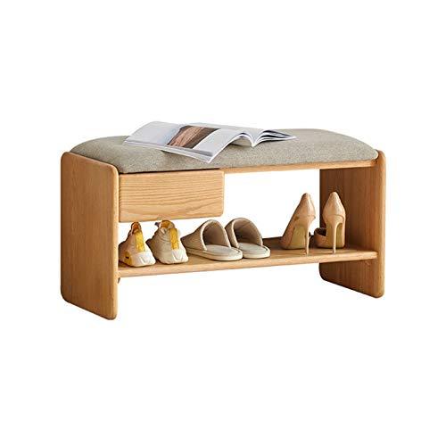 liuchanxiu Banco De Zapatos Zapatero Independiente De Roble Puede Sentarse En Un Cojín Suave Gris Almacenamiento Abierto con Cajones (Color Madera Natural)(Size:80cm)