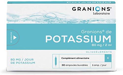 Granions de Potassium - Faiblesses des muscles & contractures musculaires - 30 ampoules = 1 mois - Aide à la décontraction musculaire - Potassium 80 mg - Marque française