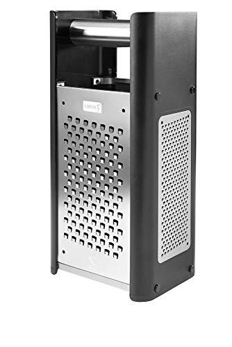Lurch 240260 RazorTech - Rallador de torre con cuatro superficies de rallado: fino, medio y grueso, hoja de cepillado, acero inoxidable y plástico