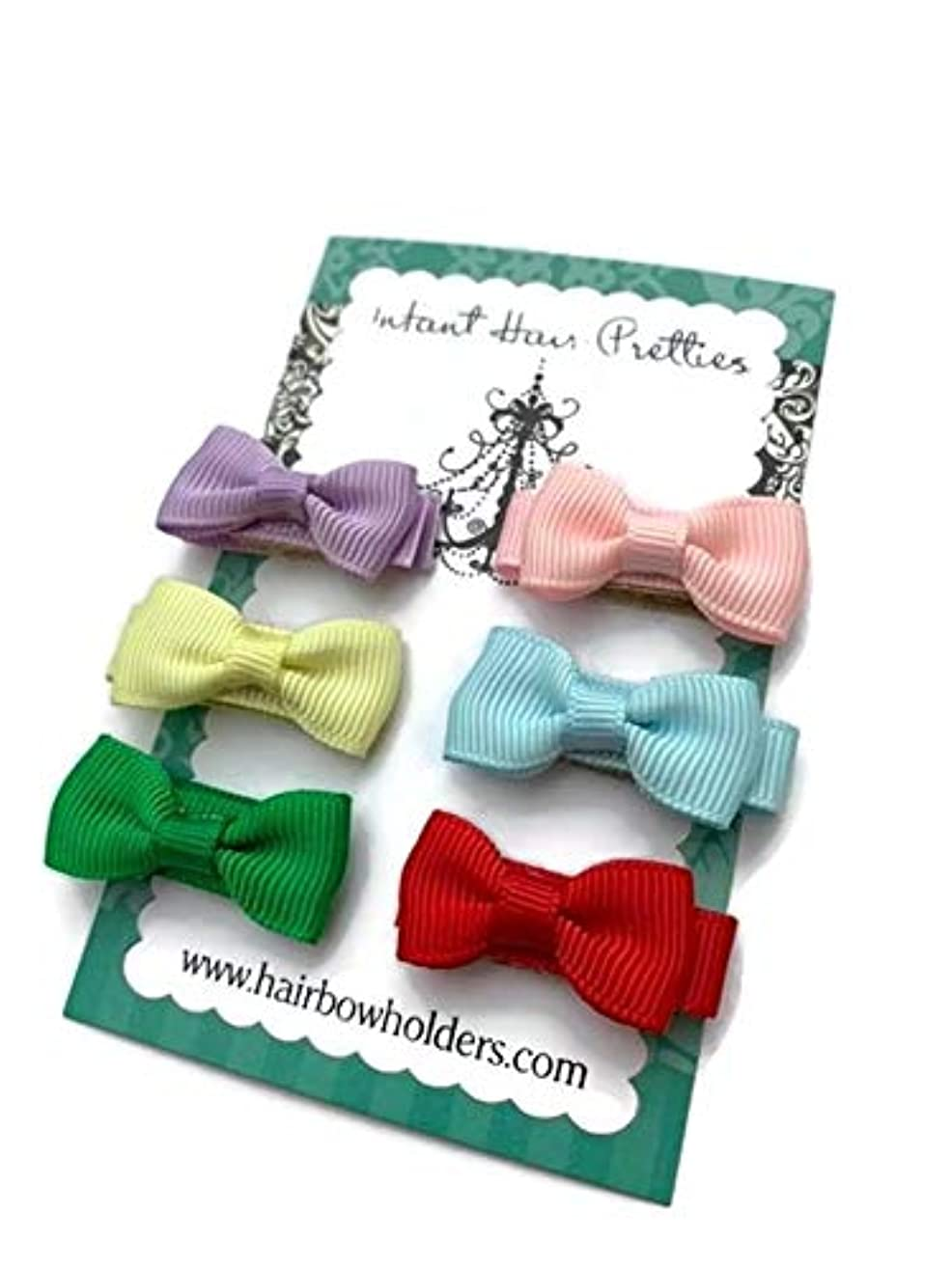 HAIR BOWS Made with VELCRO? brand fasteners for Baby Girl - BEST BABY SHOWER GIFT - Small Mini Bow Ties - Lavender Yellow Green Pink Blue Red - newborn cute hair bows