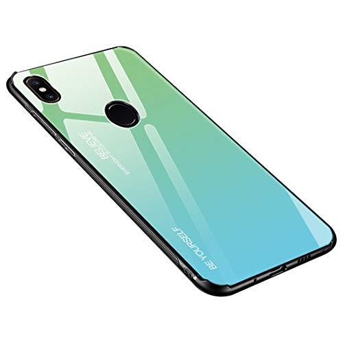 Funda Xiaomi Mi Mix 2S, Borde de Silicona TPU Suave Vidrio Templado Cubierta Trasera Carcasa Gradiente de Color Resistente a los Arañazos para Xiaomi Mi Mix 2S (Xiaomi Mi Mix 2S, Verde + azul)