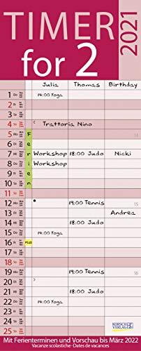 Timer for 2 Lifestyle 2021: Familienplaner mit 3 breiten Spalten. Hochwertiger Familienkalender mit Ferienterminen, Vorschau bis März 2022 und nützlichen Zusatzinformationen.