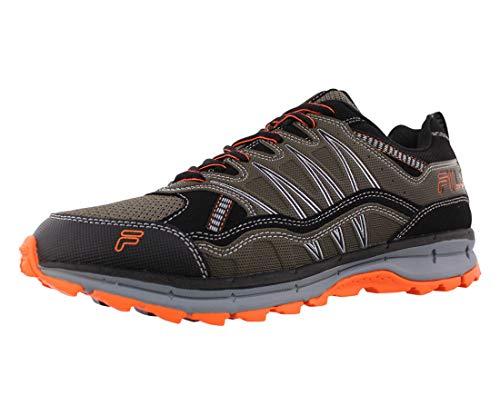 Fila mens Fila Evergrand Men's Trail Hiking Shoe, Tarmac/Black/Shocking Orange, 13 US