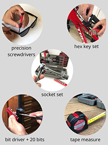 APOLLO TOOLS 88 Piece Household Tool Kit with Socket Set and Ratchet Handle for More Versatility in Do it Yourself Repairs -- DT9710