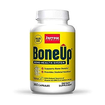 Jarrow Formulas BoneUp - 360 Capsules - Micronutrient Formula for Bone Health - Includes Natural Sources of Vitamin D3 Vitamin K2  as MK-7  & Calcium - 180 Servings