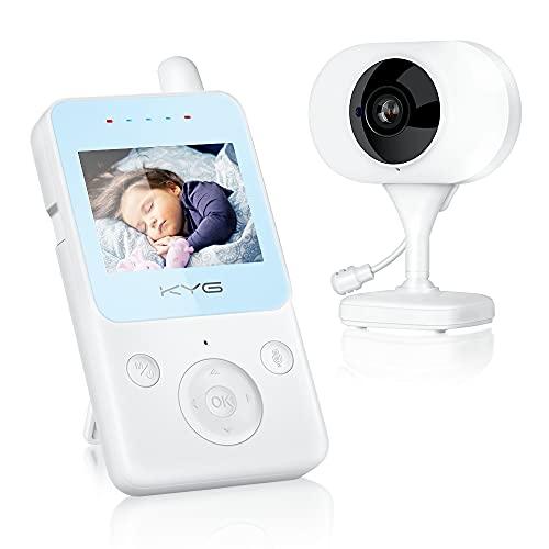 KYG Vigilabebés Inalambrico Bebé Monitor Inteligente con LCD 2.4 Pulgadas, Modo VOX Cámara Visión Nocturna Alarma de Temperatura Monitor Conexión Estable