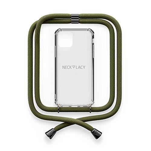 NECKLACY® - La Phone Necklace | Maniglia Trasparente con Elegante cordone per Collana - Smartphone Crossbody Case | per Apple iPhone 7 Plus/iPhone 8 Plus in Dark Olive Gunmetal