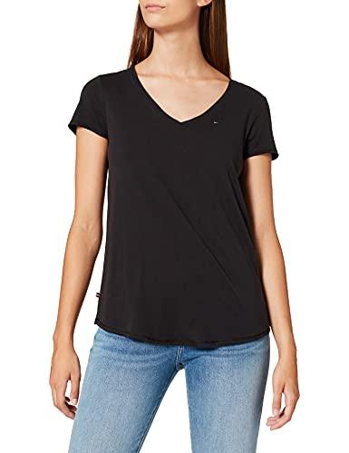 Tommy Jeans Damen Tjw Essential V Neck Tee Pc T-Shirt, Tommy Black, Large