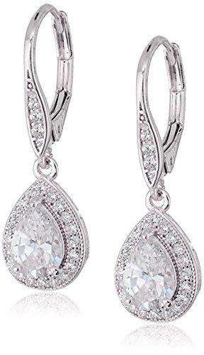 Anne Klein quotClassicsquot SilverTone Cubic Zirconia Leverback Pear Shape Drop Earrings