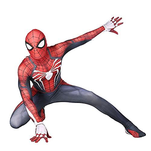 FLJLGY Unisexe Enfants Super-héros Spiderman PS4 Costumes Adultes 3D Style araignée Motif Lycra Unitard Body Combinaison Halloween déguisement Justaucorps,Red-Kids M 120~130 cm