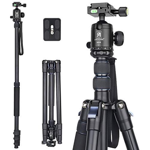 Kamera Stativ Einbeinstativ 209,8cm ARTCISE AF30 Professionelles Ultrahoch Reisestativ aus Aluminiumlegierung mit CNC Kugelkopf und Mittelsäule für DSLR Kamera, maximale Belastung 15 kg