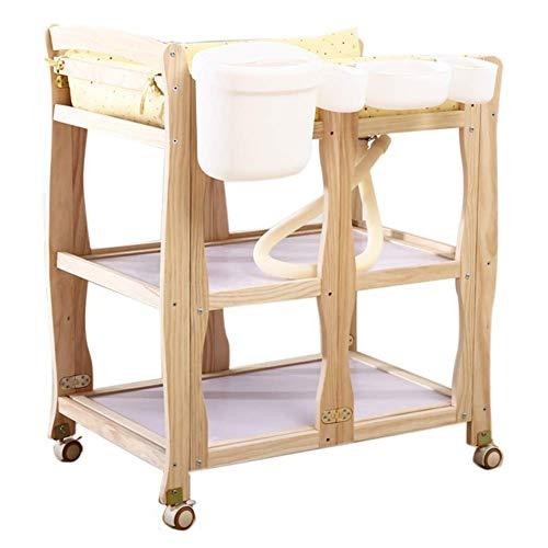 JALAL Klappbadewannenstation mit Rädern, höhenverstellbarer Wickeltisch aus Holz für gewerbliche Kinderzimmer, Last 150 kg