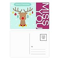 クリスマススノーフレーク星球鹿祭り ポストカードセットサンクスカード郵送側20個ミス