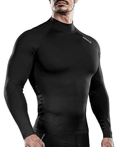 DRSKIN Men's Long Sleeve Compression Shirts Top Sports Workout Running Athletic Gym Base Layer Dry Cool (S, SABB01)