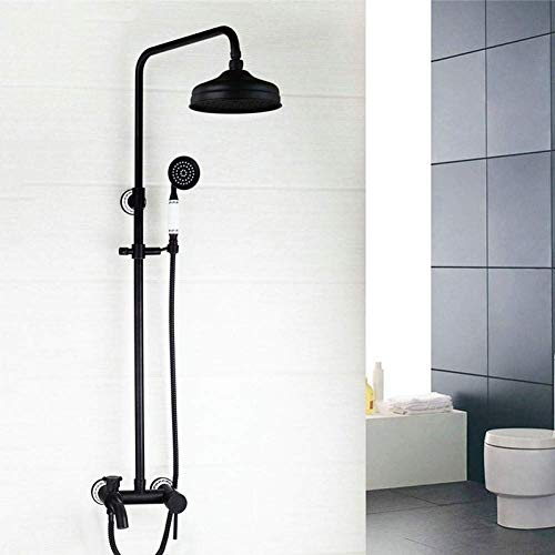 PYROJEWEL Negro Soporte de pared de 8 pulgadas de lluvia mano a mano spray 2 Funciones termostático de mano de baño grifo de la ducha Grifo mezclador