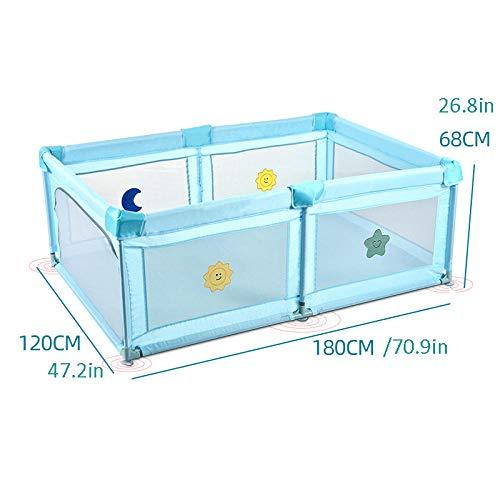 Vitila 27 sq ft BlauSpiel Boden mit Atmungsaktivem Netz,4 eckig Krabbelbox Baby für Atmungsaktive Mesh Home Indoor Zaun Anti-Fall Laufstall