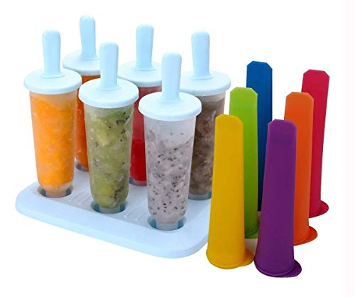 Tebery Molde para Helados, 6 Reutilizable Molde Helado + 3 Moldes de Silicona para Helados, Libre de BPA, Moldes de Polos para Bebe, Niño y Adultos