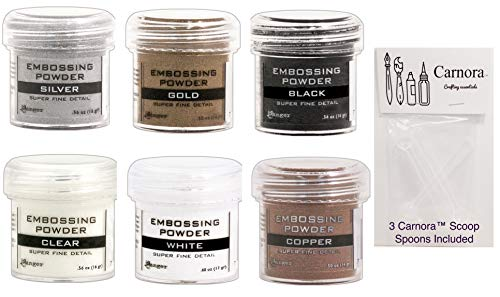 Ranger Fine Super Embossing Powder, White, Silver, Black, Copper, Clear and Gold, Bundle of 6 1 2 Ounce Jars Plus 3 Carnoras Scoop Spoons