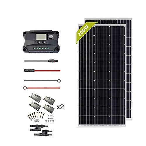 Newpowa 2pcs 100w 200w Monokristallin Solarmodul SolarKabeln und 12V/24V PWM 30A SolarLaderegler Positiv-Erdung Camping, RV,Camper,Wohnwagen