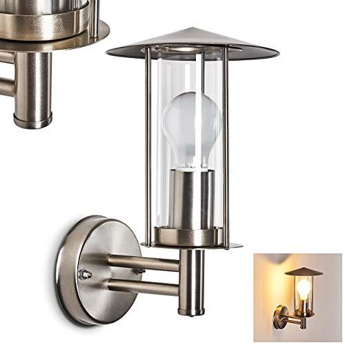 Buitenwandlamp Cadenazo, moderne wandlamp van metaal en glas in mat nikkel, wandlamp met E27 fitting, max. 60 Watt, buitenlamp IP 44 voor terras en binnenplaats, geschikt voor LED-lampen
