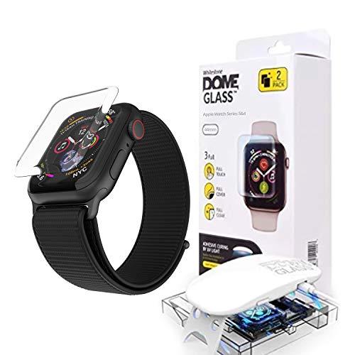 [2枚セット] [Dome Glass + Case] 強化ガラスフィルム、液晶保護フィルム(9H硬度、貼り付け冶具付き、ケース付き)(Apple Watch 44mm用)