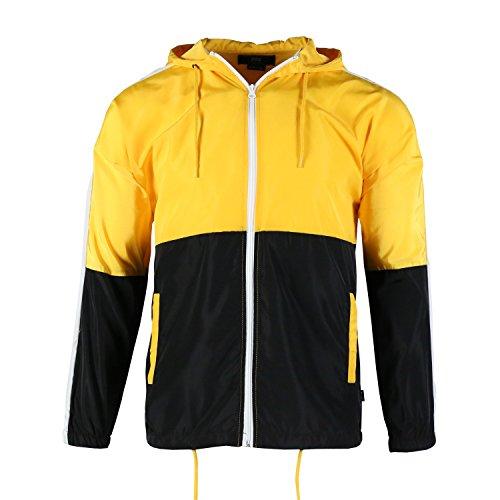 Twain Men's Lightweight Side Pockets Color Block Casual Windbreaker Jacket(L,Yellow/Black)