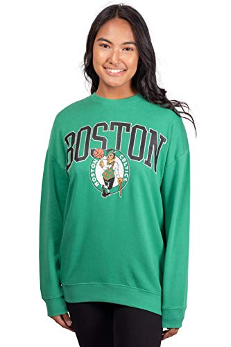 Ultra Game NBA Boston Celtics Womens Extra Soft Fleece Distressed Oversized Pullover Sweatshirt, Team Color, Small