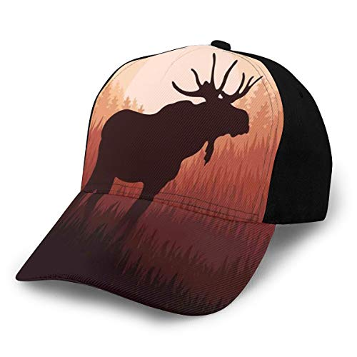 Hip Hop Sun Hat Baseball Cap,Antlers In Wild Alaska Forest Rusty Abstract Landscape Nature Design Deer Theme Woods Picture,for Men&Women