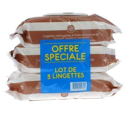 Gifrer Lingettes Nettoyantes à l'Huile d'Olive Vierge - Lot de 3 paquets de 70 Lingettes …