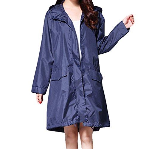 Mxssi Mode Damen Regenmantel Atmungsaktive Lange Regenmäntel Portable Wasserabweisend Regenmantel Frauen Dunkelblau 2XL