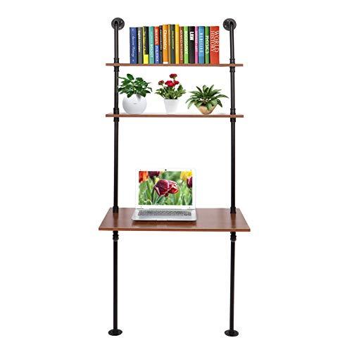 Wakects Escritorio para ordenador, escritorio para estudio con estantes colgantes, mesa de estilo industrial fabricada en madera y metal, para la oficina doméstica