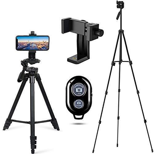 Handy Stativ Smartphone Kamera Stative Lightweight Tripod Einbein Ständer für iPhone/Samsung/Huawei Halter Halterung Leichtes Kamera-Dreibeinstativ mit Tasche(50 inch)
