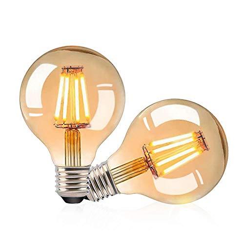 Gohytal Ampoule LED E27 Vintage,2 PCS Ampoule Edison LED E27 G80 Lampe Décorative Rétro Ampoule Globe Vintage Lampe Antique 4W Blanc Chaud Ampoule LED pour éclairage Nostalgique et la Maison/Café/Bar