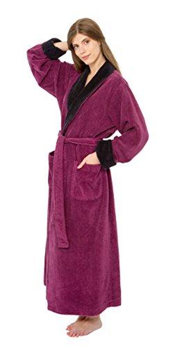 Bath & Robes Women's 100% Cotton Chenille Robe, Long Bathrobe Mulberry Small