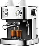 LXW Máquina de Espresso, Vara de Leche con Leche Independiente, cafetera con vaporizador de Leche, Pantalla de Temperatura en Tiempo Real para Capuchino, Latte y Moca