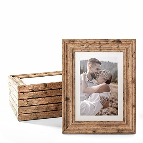 TWING 5x7 Picture Frames Set of 6, Rustic Farmhouse Picture Frames Display Pictures 4x6 with Mat or 5X7 Without Mat, Tabletop Display and Wall Mounting Home Decorative Photo Frames Pre-Installed, Walnut