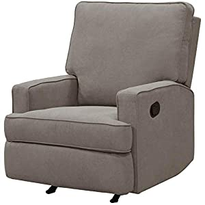 Gliding Rocking Chair Recliner Glider for Nursery Room Armrest Relaxation Upholstery Padded Leg Rest Smooth Rock Functional Accent Chair Modern Comfy Contemporary Bedroom Taupe & eBook by NAKSHOP