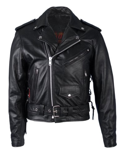 Hot Leathers Classic Motorcycle Jacket with Zip Out Lining (Black, Size 42)