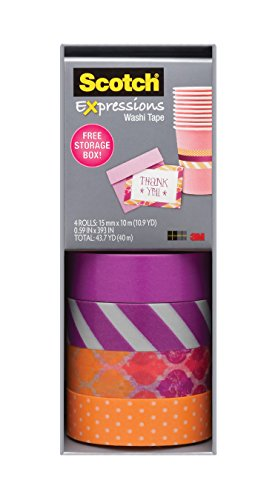 Scotch Expressions Washi Tape, Multi-Pack with Storage Box Stripes, Dots and Sunset, 4 Rolls (C317-4PK-STRP) Photo #3