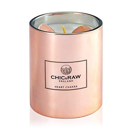 Chic & Raw Heart Chakra Kristall-Duftkerze in Roségold, natürliches Sojawachs, ätherische Öle aus weißem Tee und Ingwer, Kerze mit schmuck Rosenquarz, Premium-Geschenkbox