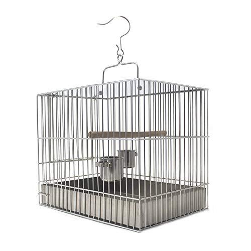 XXXXW Canarios Jaula Mascota Pájaro de la Jaula de Aves de Acero Inoxidable Cuadrado con una Jaula de baño Fuera de la Jaula de Viaje fácil de Limpiar Jaulas para Loros (Size : Small)